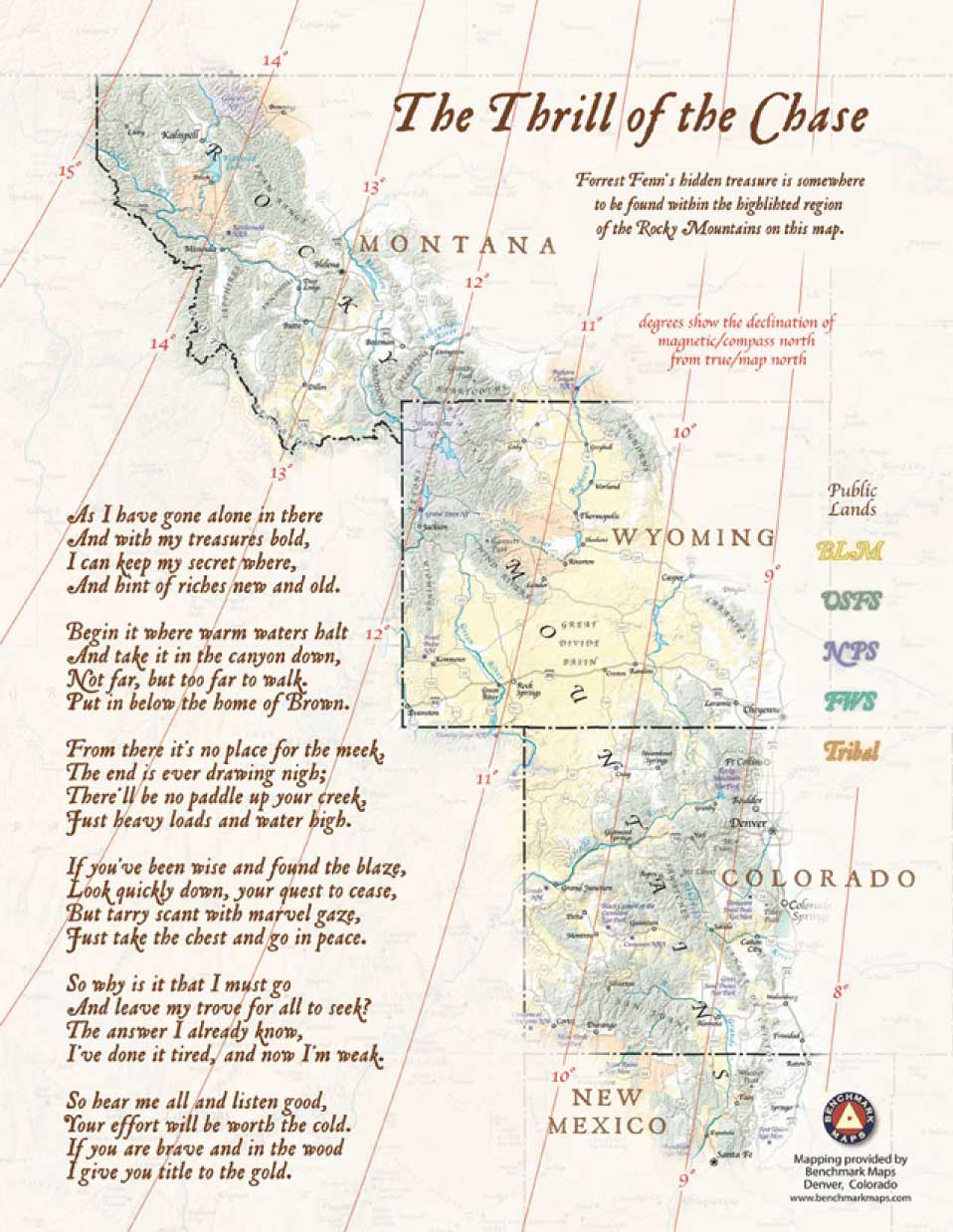 Forrest Fenn's Treasure Poem and Map of the Rocky Mountains