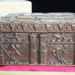 """""""73-11"""" - Vinnettis Bronze Replica of The Forrest Fenn Treasure Chest Left Side. Digital Image. Vinnetti's. April 2019. February 19, 2020. http://www.vinnettis.com/wp-content/uploads/2019/04/73-11.jpg"""