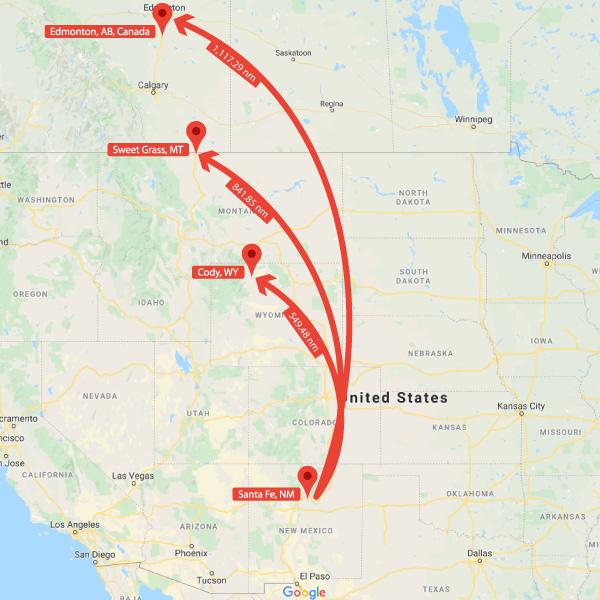 Fenn's Treasure Search Area Map of Forrest's Rocky Mountain Flight Range